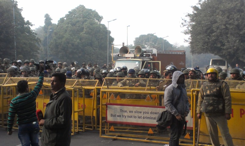 Police barricades--lots of them--prevented the protestors from going to India Gate.