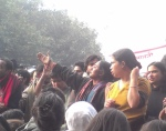 Kavita Krishnan asked protestors to stay peaceful, and talked about the wider issues at stake in the women's movement. That is one fine undented unpainted woman.