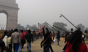TV cameras at India Gate this morning