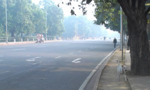 Sanitising the area: empty roads around India Gate.