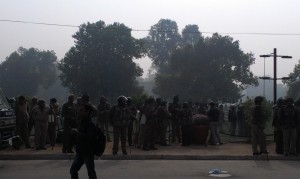 The police lines at India Gate, though my sense was that they'd been instructed to go relatively easy on the protestors.