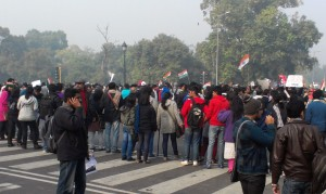 Students, towards the back of the protest at India Gate. Most of them walked down from distant Metro stations.
