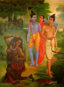 Surpanakha, cast as the dark-skinned, monstrous outsider.(Image found on http://mythologica.fr/hindou/surpanakha.htm)