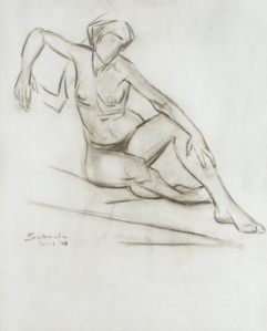 Jehangir Sabavala, graphite on paper, 1948 (from Delhi Art Gallery)