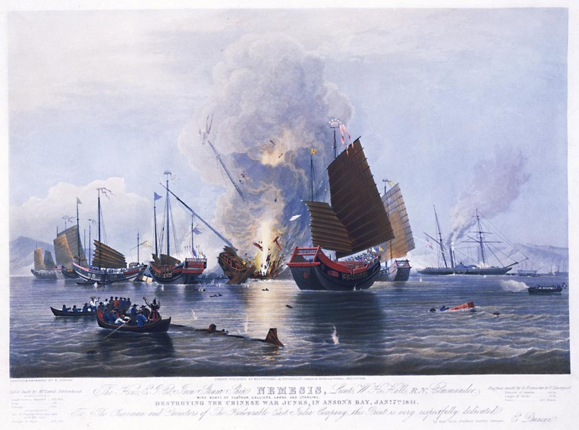 The Nemesis destroys Chinese junks, 1841