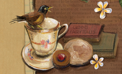 Myna, detail from The Girl Who Ate Books, Kriti Monga
