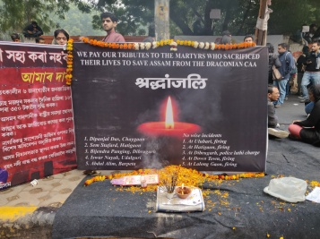 Honouring those who were killed in the first wave of protests in Assam